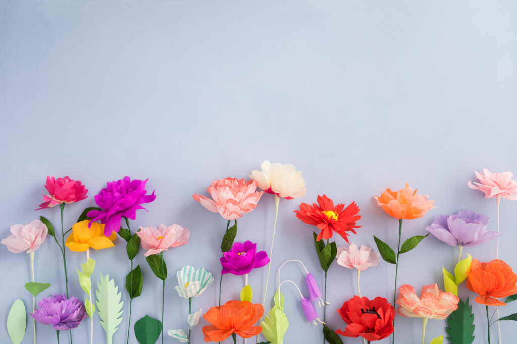 fleurs en papier crépon