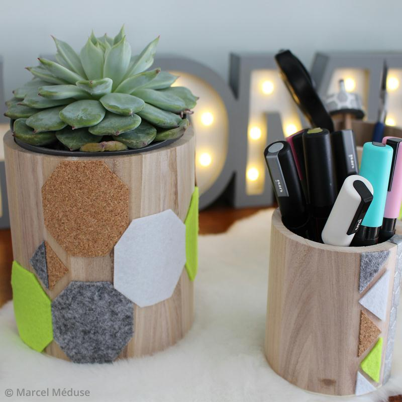 diy d co pots et vases graphiques en li ge et feutrine id es conseils et tuto d coration. Black Bedroom Furniture Sets. Home Design Ideas