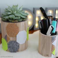 DIY Déco : Pots et vases graphiques en liège et feutrine