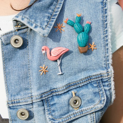 DIY Artemio customisation : La veste en jeans Tropicale