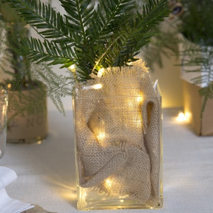 Diy d corer un vase avec de la toile de jute id es for Guirlande decoration interieur