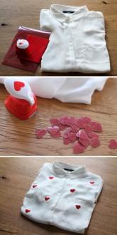 2. Comment customiser une chemise avec des coeurs à paillettes ?