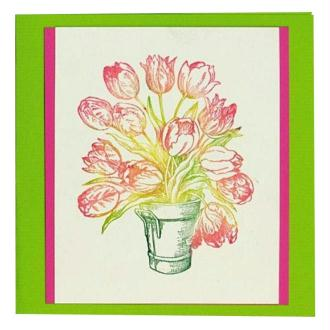 Carte tulipes avec les tampons