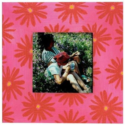 Cadre photo fleurs rouges fait au tampon id es conseils - Tuto home deco tableau ...