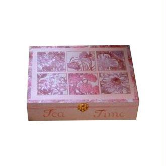 Boîte à thé rose personnalisée au tampon