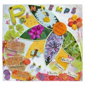 Un printemps haut en couleur sur une page de scrapbooking