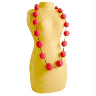 Collier de perles en laine cardée