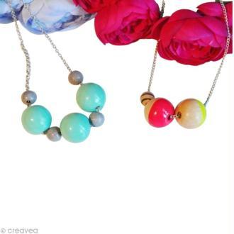 Tuto bijou : les colliers menthe et néon en bois