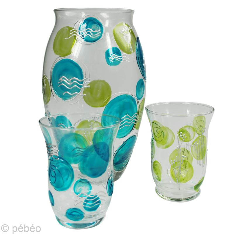Peindre un vase en verre et ses photophores assortis id es conseils et tuto d coration - Peinture sur plateau en verre ...