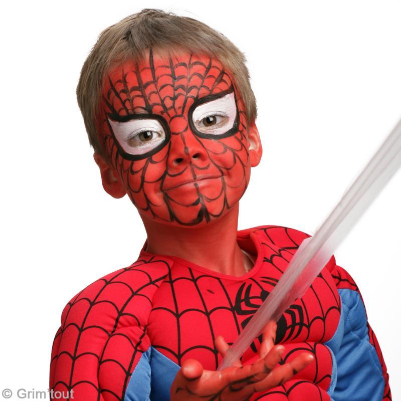 Maquillage spiderman sur visage d 39 enfant id es conseils et tuto maquillage - Maquillage halloween toile d araignee ...