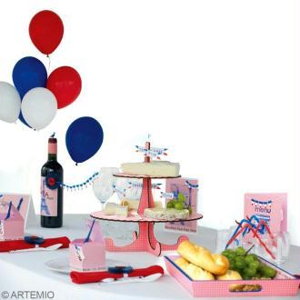 Déco de table 14 juillet : fromage, pain et vin !