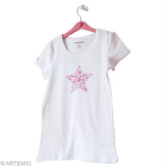 Customisation de t-shirt blanc 100% Bonheur