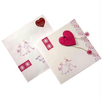 Faire-Part Mariage Coeur rose