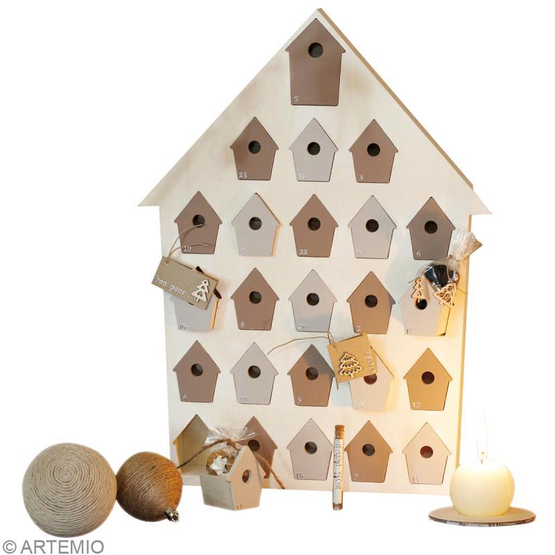 calendrier de l'avent en bois à décorer - nichoir - 47 cm