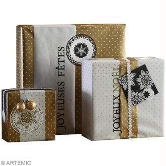 Papier cadeau scrap : Noël Noir, blanc et or