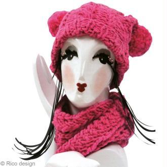 Tuto Bonnet à pompons et écharpe en laine Rico Design