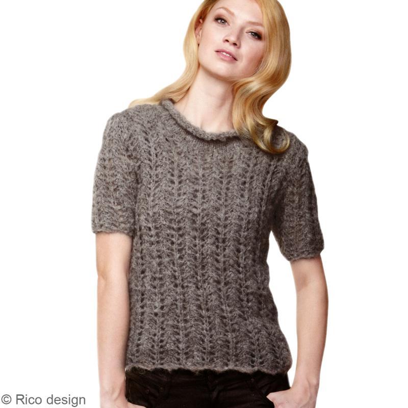 modele gratuit tricot pull manches courtes femme