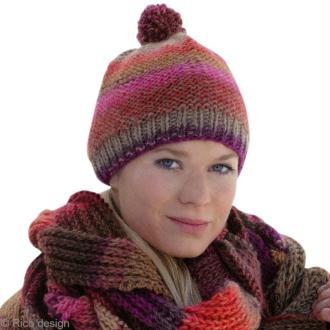Tricot bonnet en jersey et côtes en laine Creative melange chunky