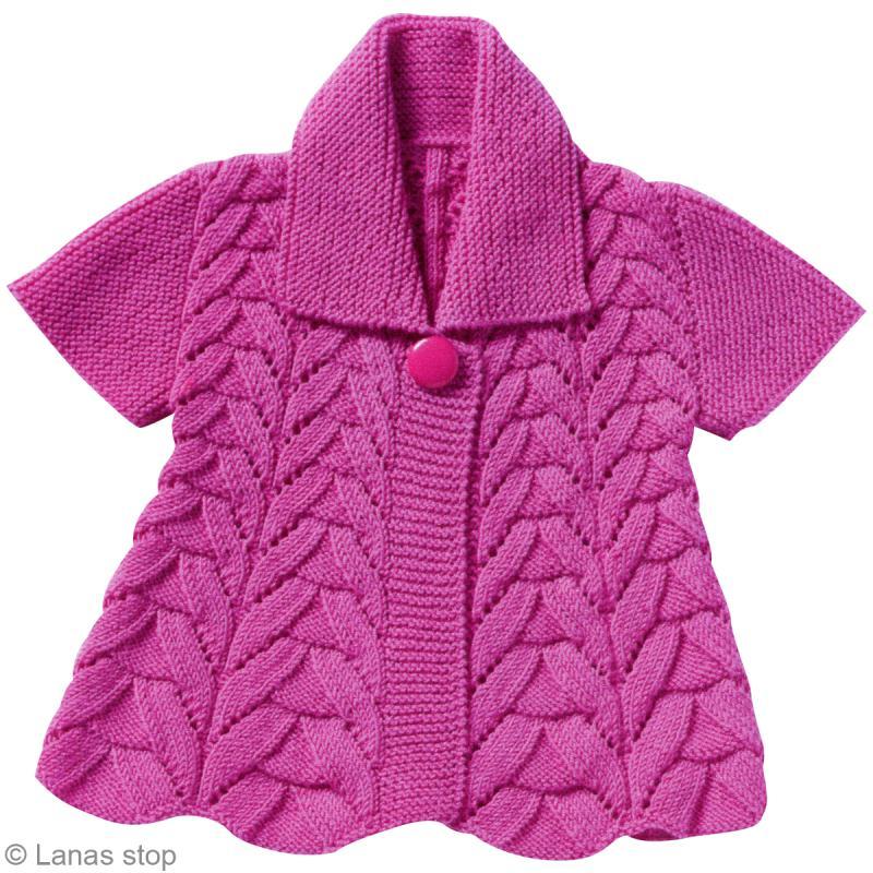 8894cbd80a429b Tricoter une veste pour fillette - Catalogue Lanas Stop n°120 modèle ...