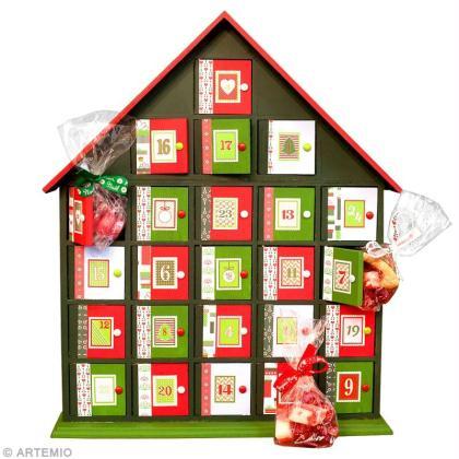 calendrier de l 39 avent original en rouge et vert id es. Black Bedroom Furniture Sets. Home Design Ideas