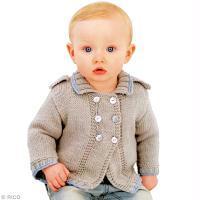 Tricot layette pour bébé : une veste style militaire