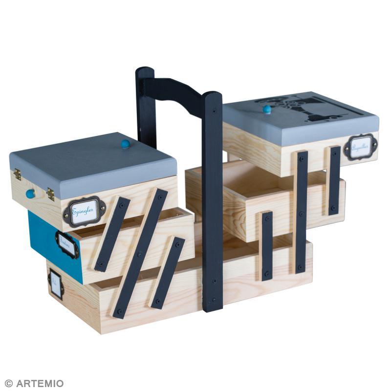 D coration d 39 une bo te couture en bois style vintage - Decorer boite carton pour anniversaire ...