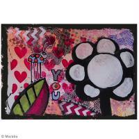 DIY Tableau Mixed Media : Champ de fleurs et cœurs