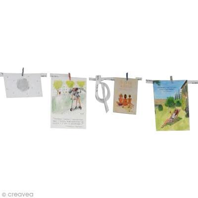 Pinces linge naturelles 47 mm x 12 pince linge bois - Guirlande porte photo avec pinces linge ...