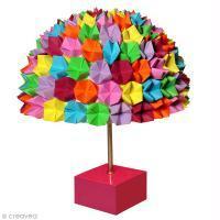 DIY Lampe colorée en papier mâché et origami