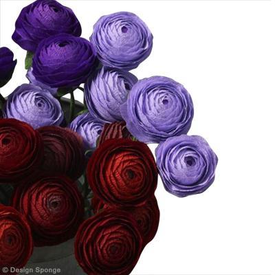 diy jolies fleurs renoncules en papier cr pon id es conseils et tuto d coration. Black Bedroom Furniture Sets. Home Design Ideas