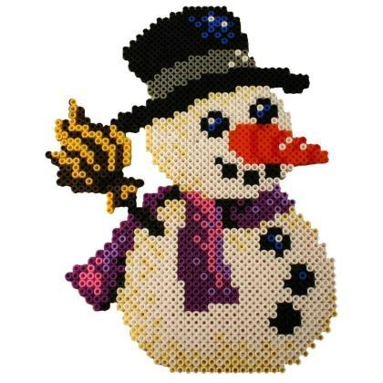 Bonhomme de neige en perles à repasser HAMA special Noel