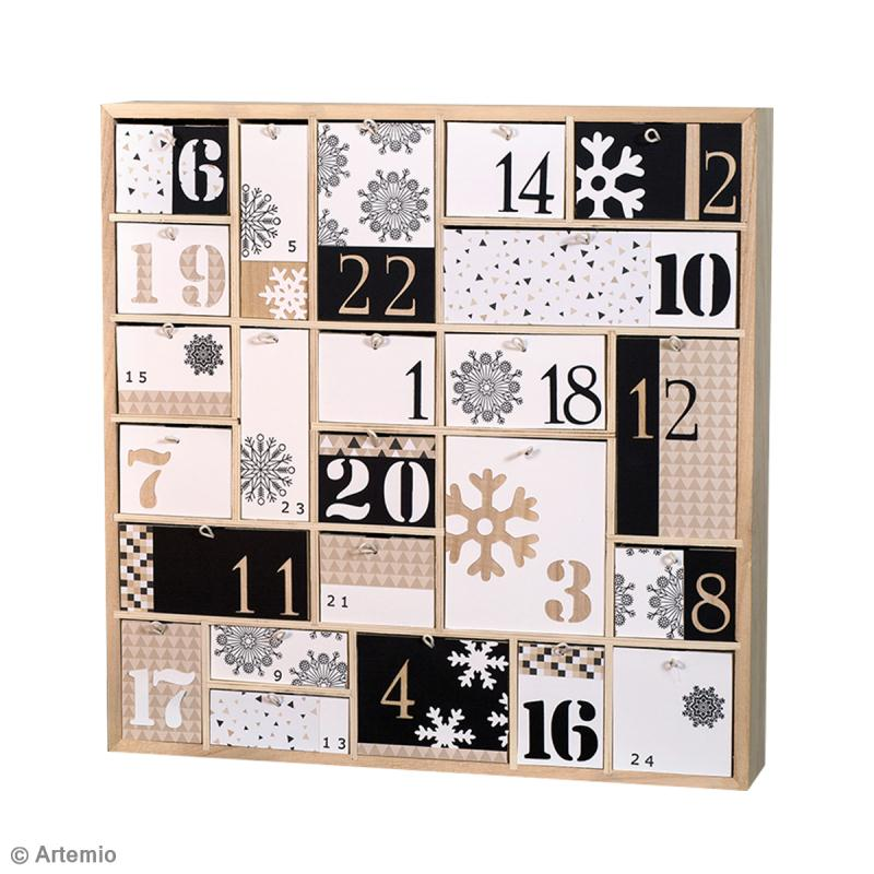 diy calendrier de l 39 avent graphique noir et blanc id es conseils et tuto calendrier de l 39 avent. Black Bedroom Furniture Sets. Home Design Ideas