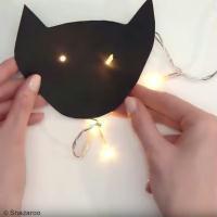 Déco Halloween facile : Guirlande lumineuse Chat noir
