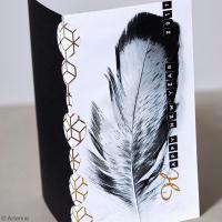 Tuto Carte de voeux Plume ambiance Noir et Blanc