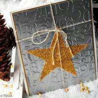 DIY Scrap : Carte de voeux Etoiles glitter