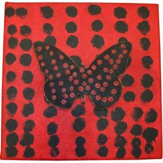 Tableau anniversaire papillon rouge et noir