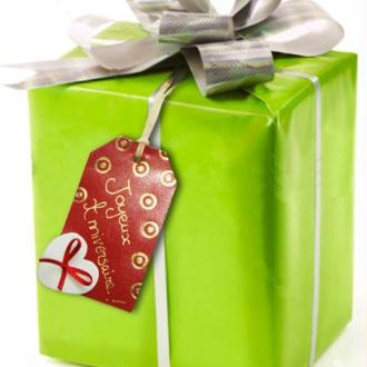 Etiquette cadeau en cuir pyrodorée pour les paquets cadeaux