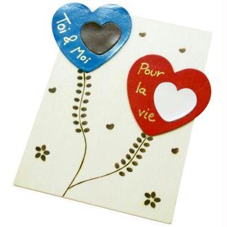Carte fête des amoureux à la pyrodorure sur cuir