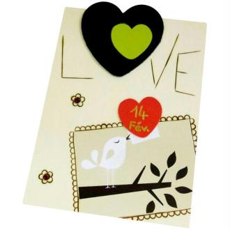 Carte Saint Valentin pyrogravée et pyrodorée