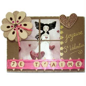 Carte Saint Valentin avec fleur en cuir pyrogravée