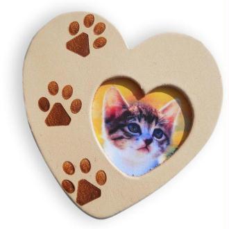 Coeur en cuir Lovely Cat