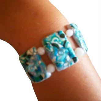 Bracelet en pâte fimo et perles de swarovski