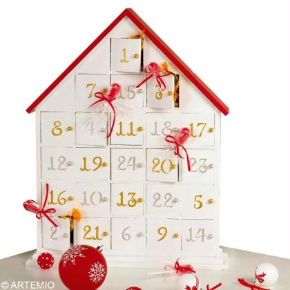 bricolage calendrier de l 39 avent rouge et blanc id es conseils et tuto calendrier de l 39 avent. Black Bedroom Furniture Sets. Home Design Ideas