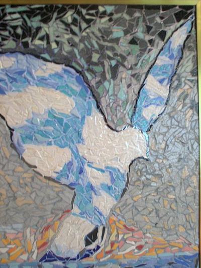 Colombe ciel et nuages;Inspiration René Magritte
