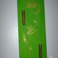 Tableau bambous et fleurs en or