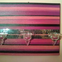 Tableau façon Chandelier mural avec mosaïque, bougeoirs et fil métallique
