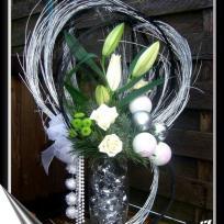 Bouquet joyeuses fêtes de noël vert et argent