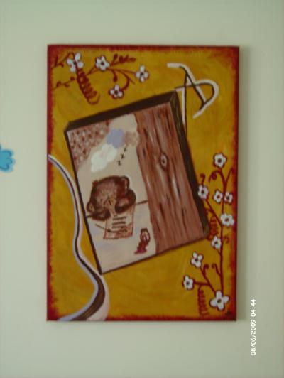 Peinture sur toile fleur et arbre
