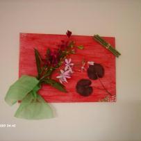 Peinture en 3D sur toile fond en cire rouge