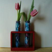 Soliflores bleus peints à  l' encre colorink